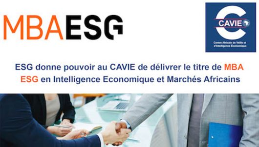 Le CAVIE habilité à délivrer le titre MBA ESG en Intelligence économique et marchés africains